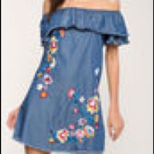 DENIM OFFSHOULDER EMBROIDERED RUFFLE PEASANT DRESS